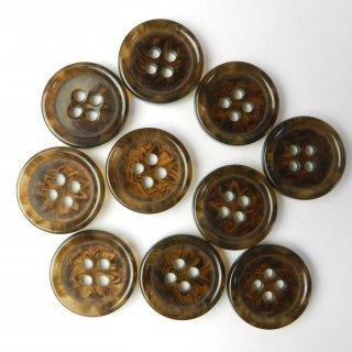模様入り茶色系ボタン/18mm/4穴/コート袖口・カーディガンに最適