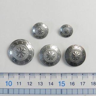 [5個入]コンチョボタンまとめてお得!/25mm・21mm・16mm・13mm/色:ZN・ZNU/素材:ハイキャスト/足つき/レザーの財布・ベルトなどの装飾に
