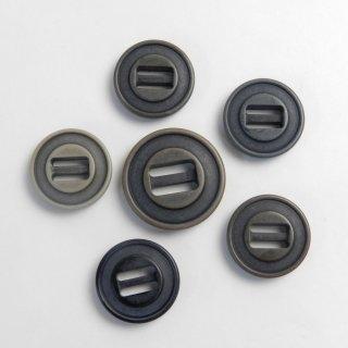 [6個入]ヴィンテージ加工パラシュートボタンお得セット/素材:ポリエステル/25mm・20mm/2穴/テープ留め/ミリタリー調カジュアル・カナディアンタイプ
