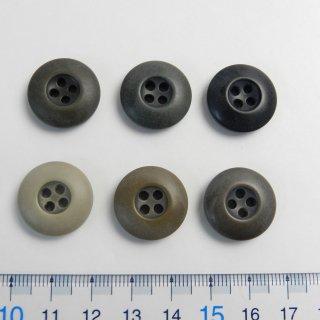 [6個入]ヴィンテージ加工のミリタリーカジュアルボタンお得なセット/素材:ポリエステル/19mm/4穴/ミリタリー調・アーミー調
