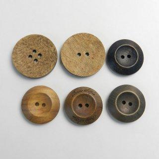 [6個入]まとめてお得!ウッドボタン詰め合わせ/素材:木材/30mm・25mm/2穴・4穴/ハンドメイド雑貨やカジュアルニット、手芸にピッタリ