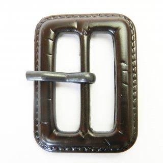 皮革風の茶色系ピン付バックル/内径31mm/本体:プラスチック系/ピン:メタル系/コート・コスプレに最適