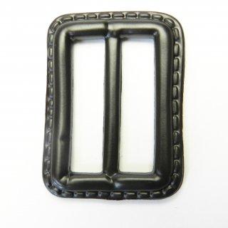 皮革風のこげ茶色系バックル/内径32mm/素材:プラスチック系/コート・ハンドメイド・手芸・コスプレに最適