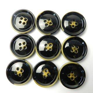 レトロ加工の黒色系ボタン/23mm/4穴/コートに最適