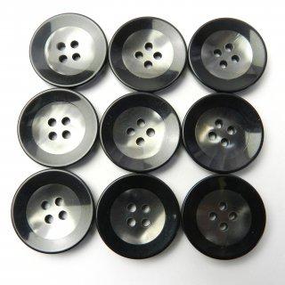 黒縁のグレー系ボタン/23mm/4穴/コートに最適