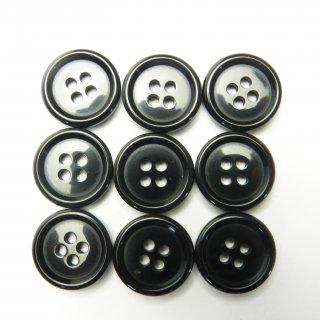 黒色系プラスチックボタン/15mm/4穴/ジャケット袖口・カーディガンに最適