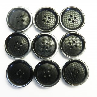 縁にグラデーションが入った格子柄模様の黒色プラスチックボタン/20mm/4穴/スーツやジャケットに最適