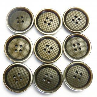 縁にグラデーションが入った格子柄模様の茶色プラスチックボタン/20mm/4穴/スーツやジャケットに最適