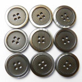 太縁にグラデーションが入った格子柄模様の茶色プラスチックボタン/15mm/4穴/ジャケット袖口・カーディガンに最適