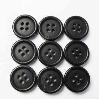 黒色系水牛ボタン/15mm/4穴/スーツやジャケットの袖口・カーディガンに最適