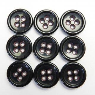 黒地にピンク色系タヌキ穴のプラスチックボタン/15mm/4穴/ジャケット袖口・カーディガンに最適