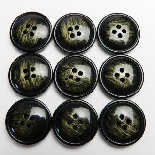 模様入りのレンズ型黒色系ボタン/23mm/4穴/コートに最適