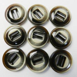 茶地にベージュ系の模様入りパラシュートボタン/23mm/2穴/コートに最適