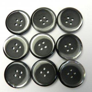 黒地にグレー系模様入りボタン/23mm/4穴/コートに最適
