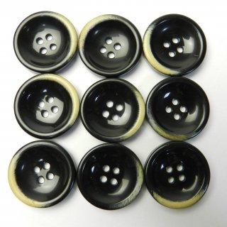 本焼き加工の黒色プラスチックボタン/23mm/4穴/コートに最適