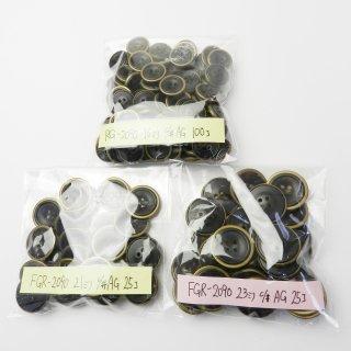 [150個入]金縁の黒色系水牛調組み合わせボタン まとめてお得な3サイズ詰め合わせ/16・21・23mm/4穴/ジャケットやコートなどに最適
