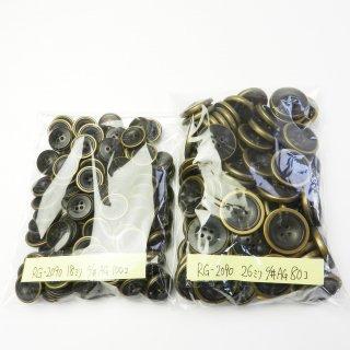 [180個入]金縁の黒色系水牛調組み合わせボタン まとめてお得な2サイズ詰め合わせ/18・26mm/4穴/コートやカーディガンなどに最適