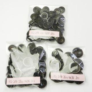 [144個入]メタル縁の黒色系水牛調組み合わせボタン まとめてお得な3サイズセット/21・23・26mm/4穴/ジャケットやコートなどに最適