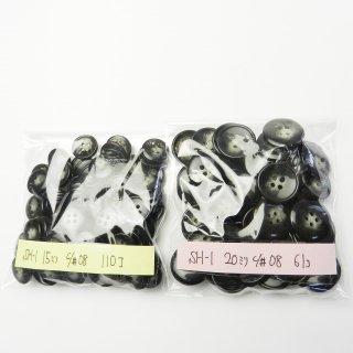 [171個入]黒色系の水牛調ボタン まとめてお得な2サイズ詰め合わせ/15・20mm/4穴/ジャケットやカーディガンなどに最適