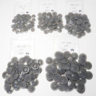 [215個入]水牛調グレー色系ボタン まとめてお得な5サイズ詰め合わせ/15・18・20・23・25mm/4穴/ジャケットやコートなどに最適