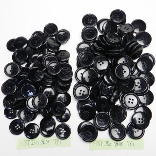 [157個入]黒色系の水牛調ボタン まとめてお得な2サイズセット/23・25mm/4穴/ニットやコートなどに最適