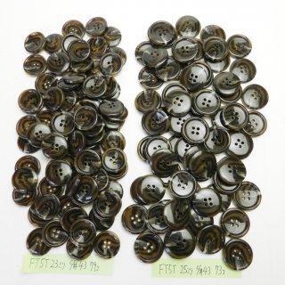 [152個入]こげ茶色系の水牛調ボタン まとめてお得な2サイズセット/23・25mm/4穴/ニットやコートなどに最適