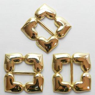 ハート4連のゴールドバックル/内径約20mm/コートやバッグのベルトに最適