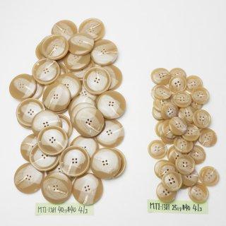 [82個入]大型のベージュ色系水牛調ボタン まとめてお得な2サイズセット/25・40mm/4穴/コートやニット、手作り雑貨などに最適