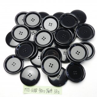 [33個入]大型の黒色系プラスチックボタン まとめてお得な33個セット/40mm/4穴/コートやニット、手作り雑貨などに最適
