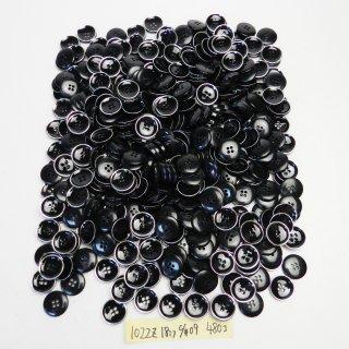 [480個入]メタル調縁の黒色系模様入りプラスチックボタン まとめてお得な480個セット/18mm/4穴/カーディガンなどに最適