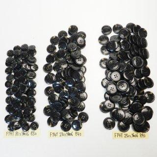 [253個入]黒色系の水牛調ボタン まとめてお得な3サイズ詰め合わせ/18・23・25mm/4穴/ジャケットやコートなどに最適