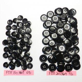 [140個入]黒色ボタン まとめてお得な2サイズ詰め合わせ/15・20mm/4穴/ジャケットやスーツなどに最適