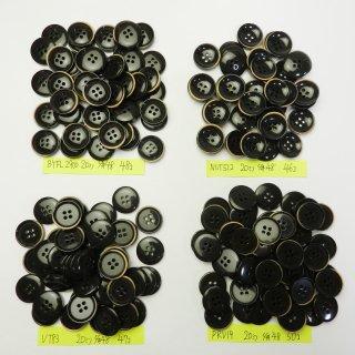 [191個入]縁が茶色のビンテージ風ボタン まとめてお得な4種類詰め合わせ/20mm/4穴/ジャケットやスーツなどに最適