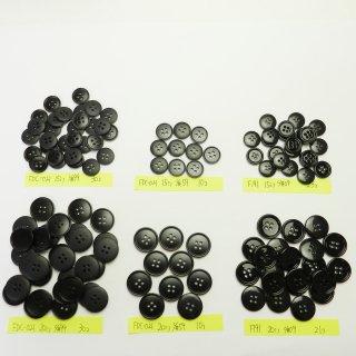 [124個入]黒色系ボタン まとめてお得な6種類詰め合わせ/15・20mm/4穴/ジャケットやスーツなどに最適