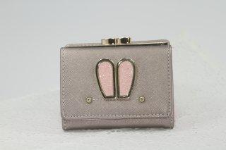 うさみみ付き三つ折れ財布 (ピンク×シルバー・ピンク×ベージュ)