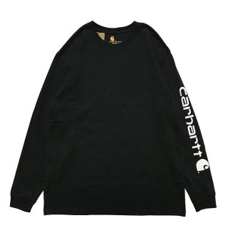 CARHARTT ARM LOGO LONG SLEEVE TEE BLACK WHITE