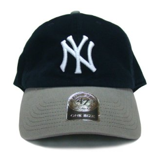 "'47 BRAND ""NEW YORK YANKEES"" CLEAN UP TWILL CAP NAVY GREY"