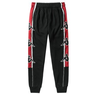 KAPPA BIG BANDA LOGO SLIM TRACK SWEATPANTS BLACK RED
