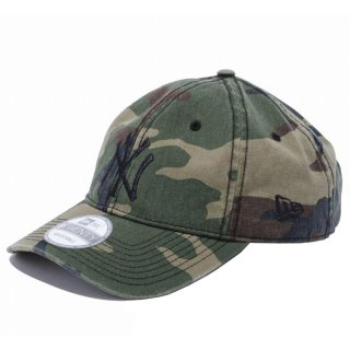 NEW ERA 9TWENTY CLOTH STRAP WASHED COTTON YANKEES WOODLAND CAMO