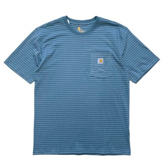 CARHARTT BORDER POCKET TEE STEAL BLUE