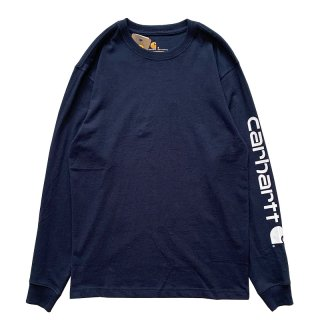 CARHARTT ARM LOGO LONG SLEEVE TEE NAVY WHITE