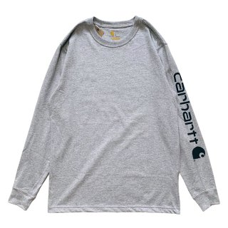 CARHARTT ARM LOGO LONG SLEEVE TEE GREY BLACK