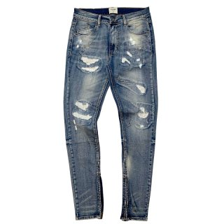 KDNK DENIM ALL OVER STITCH ANKLE ZIP JEANS BLUE