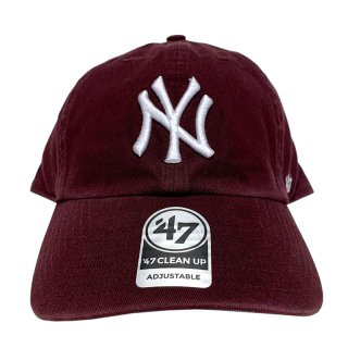 "'47 BRAND ""NEW YORK YANKEES"" CLEAN UP TWILL CAP BURGUNDY"