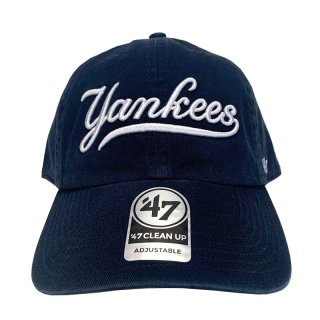 "'47 BRAND ""NEW YORK YANKEES"" CURSIVE CLEAN UP TWILL CAP NAVY"