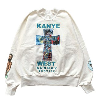 KANYE WEST AWGE FOR JESUS IS KING CROSS CREWNECK II WHITE