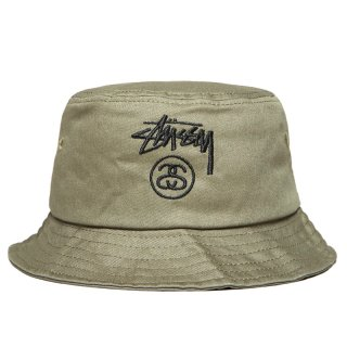 STUSSY STOCK LOCK BUCKET HAT OLIVE