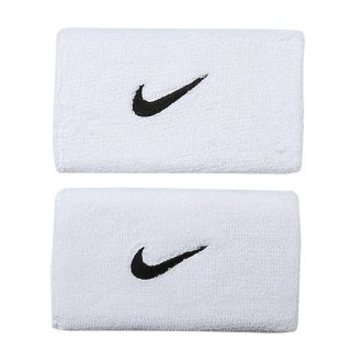 NIKE TWO DOUBLE WIDE WRISTBANDS WHITE