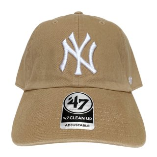 "'47 BRAND ""NEW YORK YANKEES"" CLEAN UP TWILL CAP KHAKI WHITE"