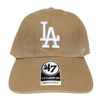 "'47 BRAND ""LOS ANGELS DODGERS"" CLEAN UP TWILL CAP KHAKI WHITE"